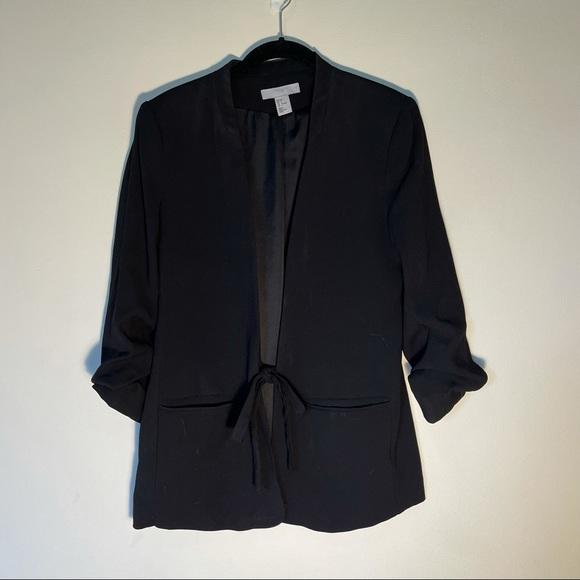 H&M black 3/4 sleeve tie front blazer